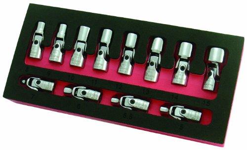 Astro Pneumatic Tool 7412 12-Piece 1/4' Drive Flex Socket Set - 6 Point - Metric