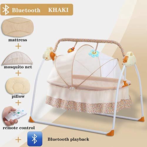 Intelligente elektrische Babybett, Shaker Baby Schaukelstuhl Baby Schaukel Klappbett Kinderbett mit Musik Elektrische Schaukelstuhl Kann U Disk Play Verbindung Bluetooth eingefügt werden,Khaki
