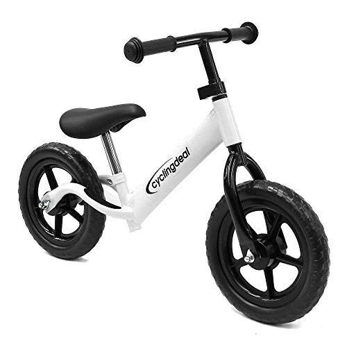 CyclingDeal Kids Sports Child Push Balance Glider Bike Walking Bicycle for Boys & Girls 12 Inch for 18 Month 2 3 4 5 Years Old Toddlers with Footrest Aluminum Alloy Rim Rubber tire White