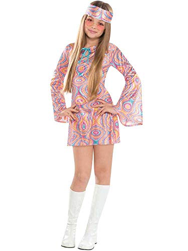 Girls Hippy Pattern Dress Costume for 60s or 70s Dress-Up, Ages 8 to 14 years
