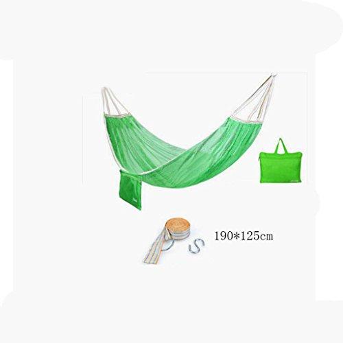 Hamac Outdoor hamac camping camping balançoire hamac hammock alpinisme maille verte hamac en polyester hamac portatif (sac de rangement * 1, sangle de sangle * 1, crochet suspendu * 1), (190 * 125cm)