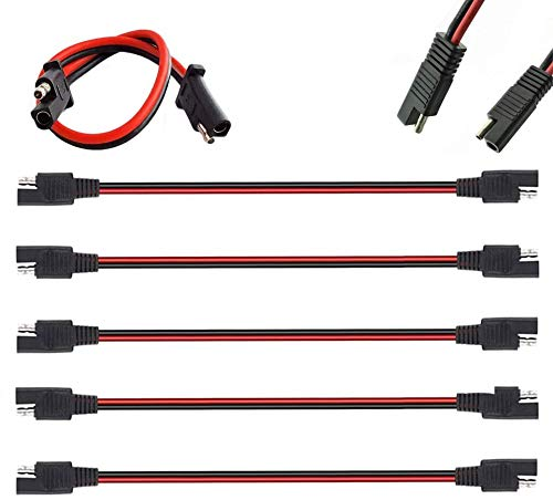 """5 Pack 12"""" 12 Gauge 2 Pin Quick Disconnect Audiopipe Polarized Wire Harness, Heavy Duty SAE Connector Bullet Lead Cable"""