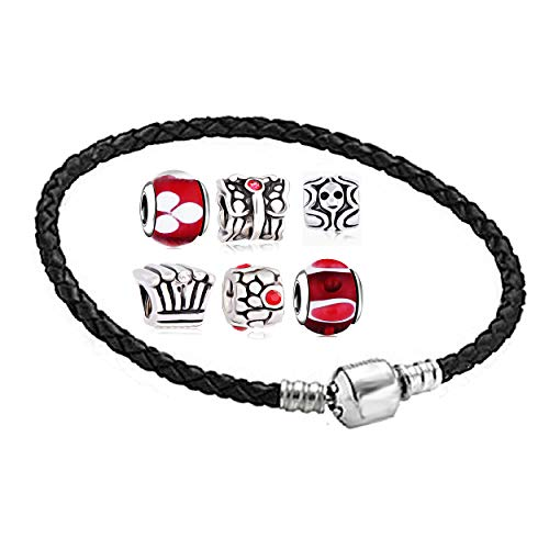 Charms anhänger set mit Armband - zwischenelement element für lederarmband halskette braclet armreif schmuck viele Farben Größen auswahl clips ringe stopper ohrstecker herz rose bead Rot 20cm