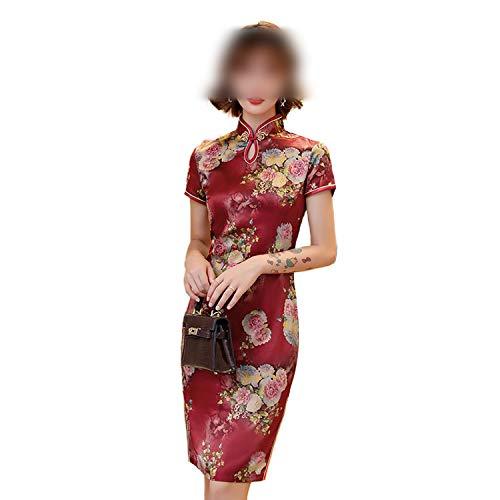 F-pump 2020 Vestido de verano Cheongsam, estilo vintage, tallas grandes, estilo chino, floral, delgado, 7 colores