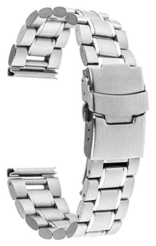 WUTONG Universal Stainless Steel Watchband 18mm 20mm 22mm 24mm Replacement Watch Band Safety Buckle Strap Bracelet Black Gold Silver Watch Strap stainless steel (Color : 22mm, Size : Silver)