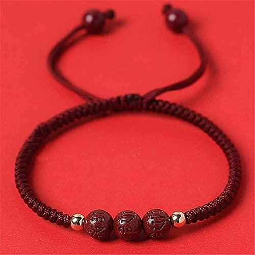 Pulsera de la riqueza Feng Shui Feng Shui Riqueza Pulsera de la riqueza Natural Cinnabar Pulsera Corazón Sutra Buddha Beads Amuleto Pulsera Prosperidad Abiertos Afilados Hecho a mano Jade Bangle Jewel
