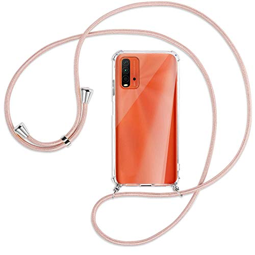 mtb more energy Collar Smartphone para Xiaomi Redmi 9T (6.53'') - Oro Rosa - Funda Protectora ponible - Carcasa Anti Shock con Cuerda Correa
