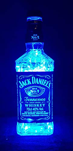 Jack Daniels – Botella lámpara con 80 ledes Azul upcycling regalo Idea