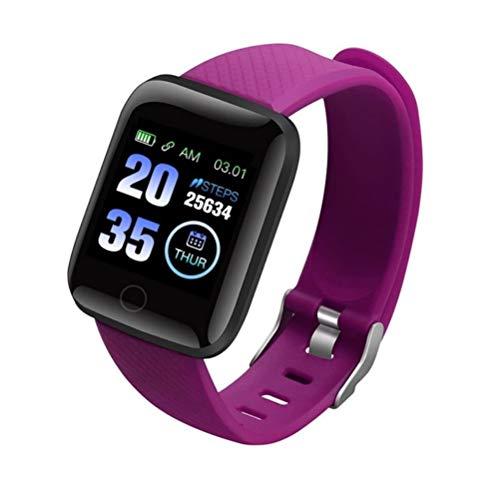 HJKPM 116Plus Smartwatch, IP67 Modo De Multi-Deporte Reloj Inteligente con Calorías Temperatura Monitoreo De Frecuencia Cardíaca GPS Tomar Imágenes 25 Funciones,Púrpura