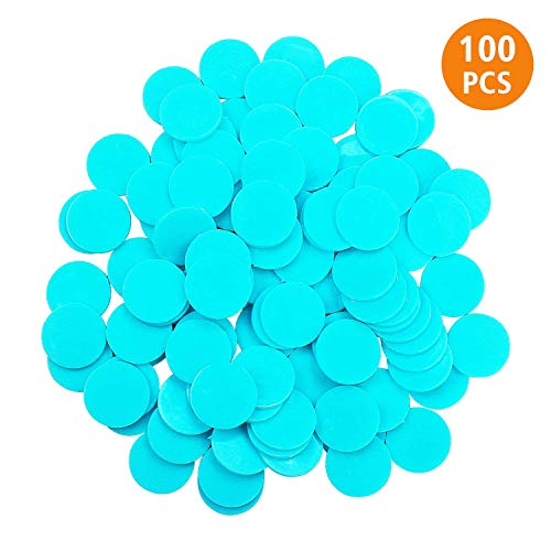 QVQQ Counting Chips for Math 100 Pieces Plastic Learning Counters Mini Poker Chips 1 Inch Opaque Round Bingo Chips Bulk Disks Markers for Kids Practice Blue Chips
