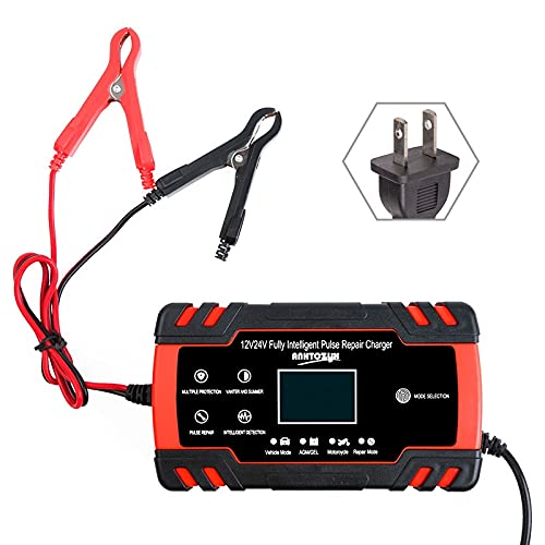 Arrancador De Coches Cargador de batería de coche 12/2 4V 8A Pantalla de pulso de pantalla táctil Reparación rápida Pantalla de ácido digital de ácido seco mojado (Color : Red US Plug)