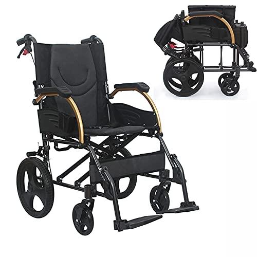 FHISD Silla de Ruedas bariátrica de Aluminio Plegable portátil y Liviana con discapacidades Silla de Ruedas de Aluminio con Respaldo Plegable, la Silla de Ruedas de Viaje