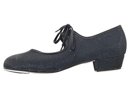 Katz Dancewear Girls Ladies Black Glitter Low Heel Tap Dance Shoes with Tap Plates (Ladies Size UK 6)