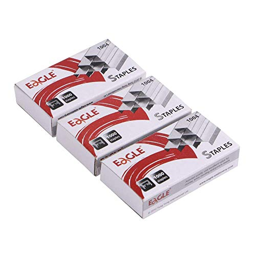 Eagle No.10 Mini Premium Staples for #10 Staplers, 1000 pcs Per Box, Pack of 3 Boxes, 3000 pcs in Total, Silver
