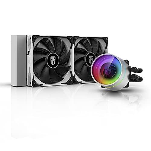 DeepCool Castle 240 Ex Blanco Sistema de refrigeración Anti Leak Radiador de 240 mm Disipador de líquido RGB Rainbow Addressable 5 V Add RGB 3-Pin Compatible Intel 115X 2066 y AMD TR4 AM4