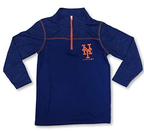 Outerstuff New York Mets Jungen-T-Shirt, 1/4-Ärmel, Gr. S, Blau