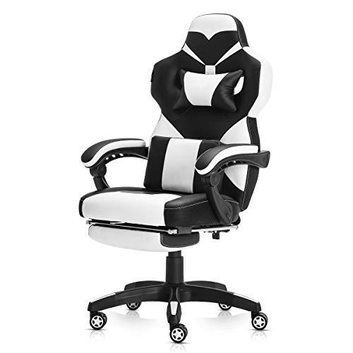 YAMASORO Gaming Stuhl Bürostuhl Ergonomisch Hohe Rückenlehne Schreibtischstuhl PU-Leder Gaming Chair mit Fußstütze Verstellbarer Drehstuhl mit Kopfstütze und Lendenstütze