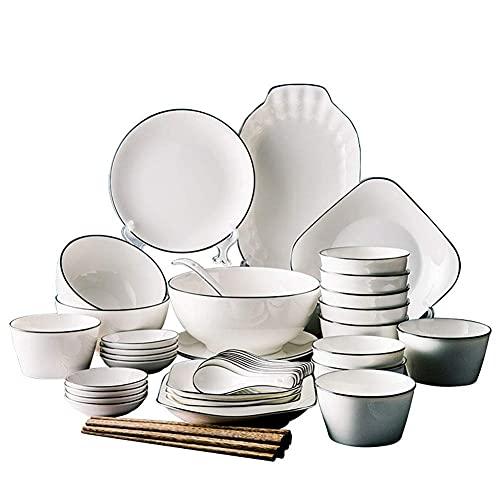 HKX Vajilla de cerámica, vajilla Simple de 50 Piezas, vajilla, vajilla, Porcelana Blanca con líneas Negras, Estilo nórdico, Servicio para 10