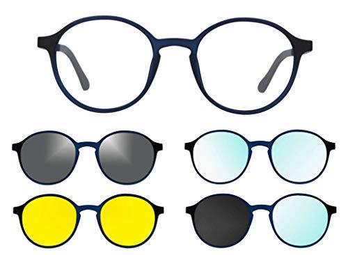 Ultem THEMA U-288 Farbe M04 blau matt Rahmen für Brille und Sonnenbrille + 4 CLIP-ON Linie Original