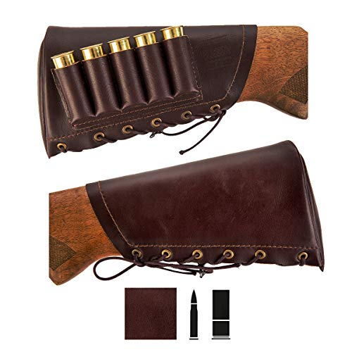 Shotgun Shell Holder Shotgun Shell Pouch Adjustable Leather Buttstock Cartridge Ammo Holder For Rifles Hunting Accessories Rifle Accessories Butt Stocks For Shotguns (12 Ga - Right, Dark Brown)