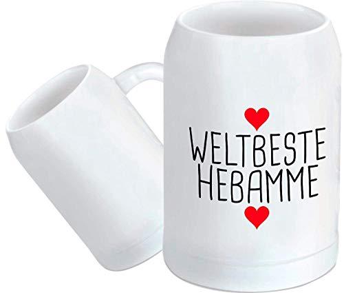 Shirtstown Bierkrug, Weltbeste Hebamme, Geburt Kind Baby Dankeschön Bier Glas, Bier zapfen, Maß, Spruch Sprüche Logo