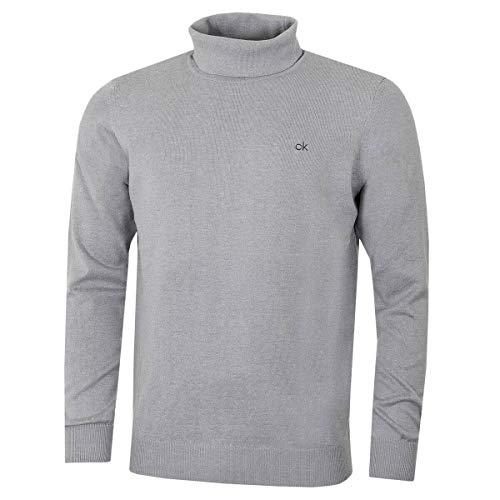 Calvin Klein CK Herren Rollkragen Rib Knit Warm Durable Sweater - Silber Marl M