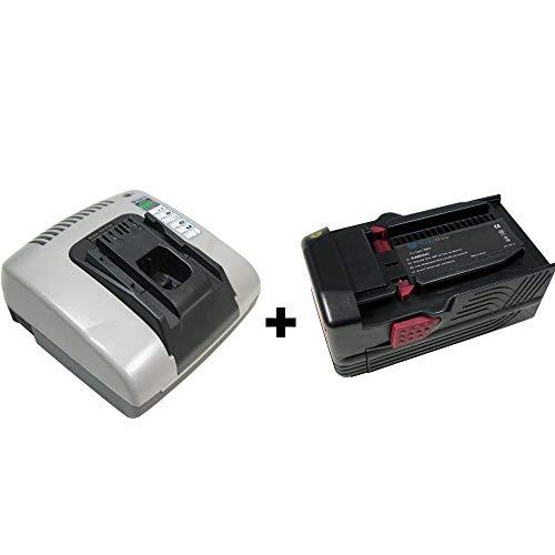 2in1 Angebot im Set: Akku Schnellladegerät mit 2x USB Anschluss + Hochleistungs Li-Ion 36V 3000mAh Akku für Hilti B36 B36V TE6A TE7A