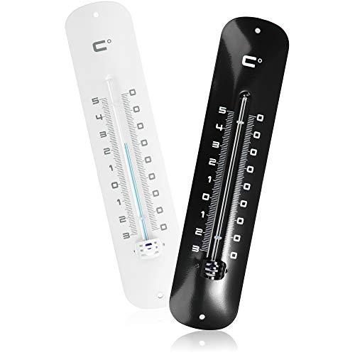com-four® 2X Termómetro analógico - Termómetro de Metal para Interior y Exterior - Medidor de Temperatura de diseño para el hogar, el balcón y el jardín (2 Piezas - Negro/Blanco 30cm)