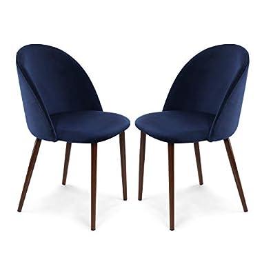 EdgeMod Sedona Velvet Dining Chair, Set of 2, Space Blue/Walnut