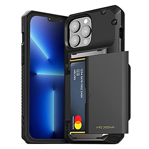 VRS DESIGN Damda Glide Pro, Sturdy Semi Auto Wallet [4 Cards] Case Compatible for iPhone 13 Pro Max Case (2021) (Black)