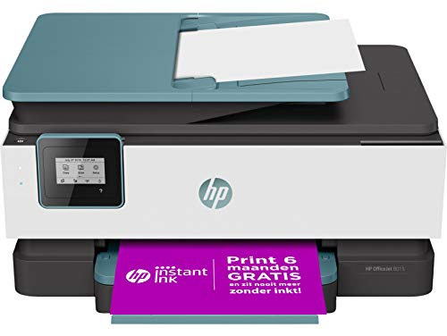 HP OfficeJet 8015 Stampante Multifunzione a Getto di Inchiostro, Scanner e Fotocopiatrice, Wi-Fi, Wi-Fi Direct, Smart Tasks, App HP Smart, 2 Mesi di Servizio Instant Ink Inclusi, Oasis