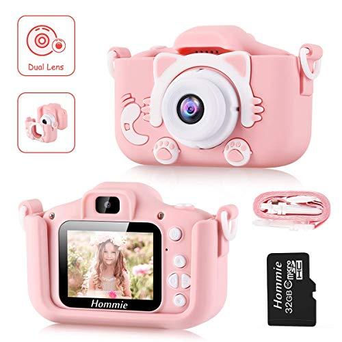 Hommie Cámara Digital para Niños, 2.0' HD Camara Fotos Niña de Doble Lente 8MP/1080p, Cámara Digitale Selfie para Niña de Tarjeta 32GB, Regalo Ideal para Niños de 3-12 Años,Cámara para Niña, Rosa