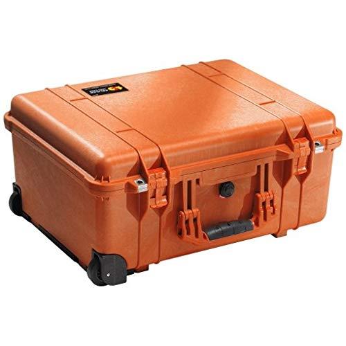 PELI 1560 Langer Robuster Trolley-Koffer für Professionelle Kameraausrüstung, IP67 Wasser- und Staubdicht, 44L Volumen, Hergestellt in Deutschland, Mit Schaumstoffeinlage (Anpassbar), Orange