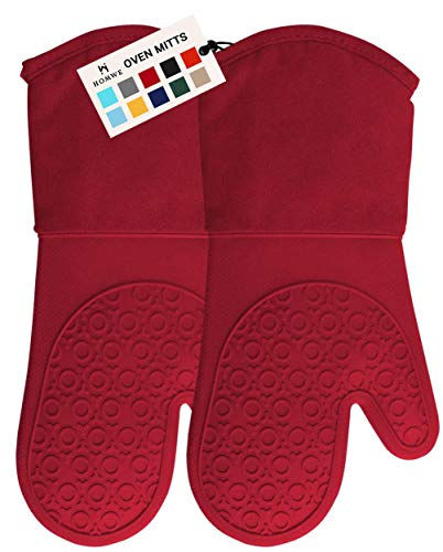 HOMWE Extra Long Professional Silicone Oven Mitt, Oven Mitts with Quilted Liner, Heat Resistant Pot Holders, Flexible Oven Gloves, 1...