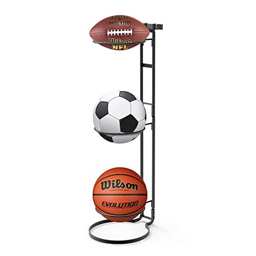 Jubao Wall Mounted Ball Holder, Standing Ball Rack, Hanging Sturdy Vertical Ball Storage with 3 Slots for Basketball Football, Ball Rack Use for Garage and Gym, Indoor and Outdoor, Dark Grey
