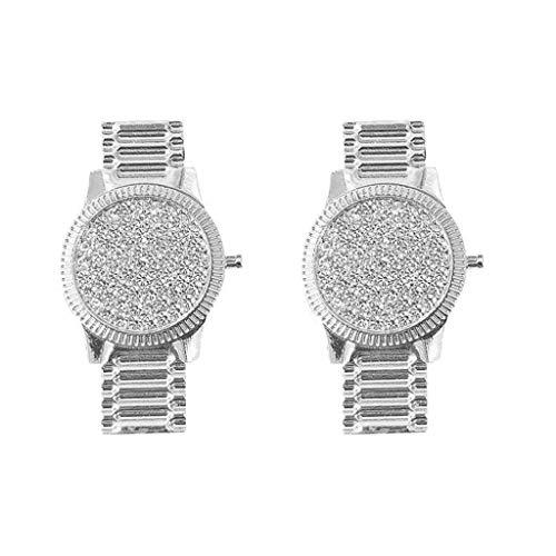 XUNXI Pendientes de Moda, Pendientes de Cristal con Forma de Reloj de Lujo, Pendientes con Incrustaciones de Cristales, Pendientes de botón para Mujer, Plata
