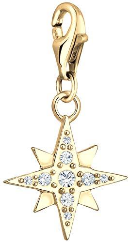 Nenalina Stern Charm vergoldet 925 Sterling Silber für Damen, Swarovski Kristalle, passend für alle gängigen Charmträger und Bettelarmband, Farbe Gold, 0403122619