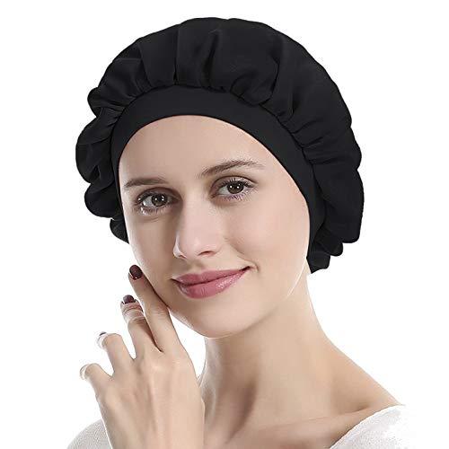 IPENNY Seiden-Dusch- oder Schlafhaube, dehnbar, extra groß, verstellbar, elastisches Gummiband, für Schlaf, Haarausfall, als Haarschutz oder Kopfschutz, Mehrlagig, #1: 30 cm, Dia:30cm