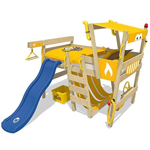 WICKEY Hochbett mit Rutsche CrAzY Smoky Kinderbett 90 x 200 Spielbett Kinder mit Lattenboden und viel Zubehör, Baggerbett, gelbe Plane + blaue Rutsche