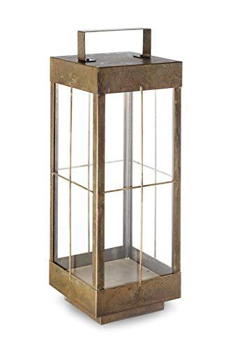 Lantern glazen vloerlamp antiek messing | Handgemaakt in Italië | Retro Vintage Dimbaar | Buitenlamp 2G10