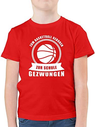 Sport Kind - Zum Basketball geboren Zur Schule gezwungen - 164 (14/15 Jahre) - Rot - Basketball Shirt Kinder - F130K - Kinder Tshirts und T-Shirt für Jungen