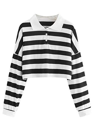 MakeMeChic Women's Casual Striped Polo Neck Drop Shoulder Button Front Crop Top Sweatshirt Black Large