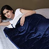 Syrinx Sherpa Weighted Blanket 15 lbs for Adult(60'x80', Queen Size) Navy Blue/White Soft Fuzzy Fleece Bed Blanket with Glass Beads