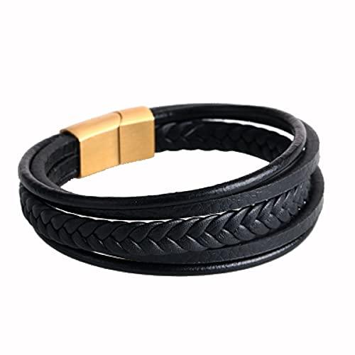 Q4S Pulsera De Cuero Marrón Negro para Hombres, Regalo De Joyería Hecha A Mano con Imán De Oro Multicapa-A,L 205mm