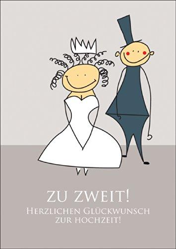Niedliche Hochzeits Glückwunschkarte mit Brautpaar: Zu zweit! Herzlichen Glückwunsch zur Hochzeit! • auch direkt Versand mit ihrem Text Einleger • schöne Grusskarte mit Umschlag für beste Freunde und Lieblingsmenschen