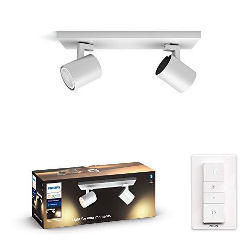Philips Hue White Amb. LED 2-er Spotleuchte Runner inkl. Dimmschalter, weiß, dimmbar, alle Weißschattierungen, steuerbar via App, kompatibel mit Amazon Alexa (Echo, Echo Dot)