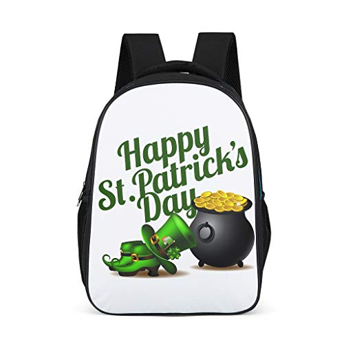 Fineiwillgo St. Patrick es Day Backpack Pattern Book Bag Durable Daypack for Students Leisure Grey One Size