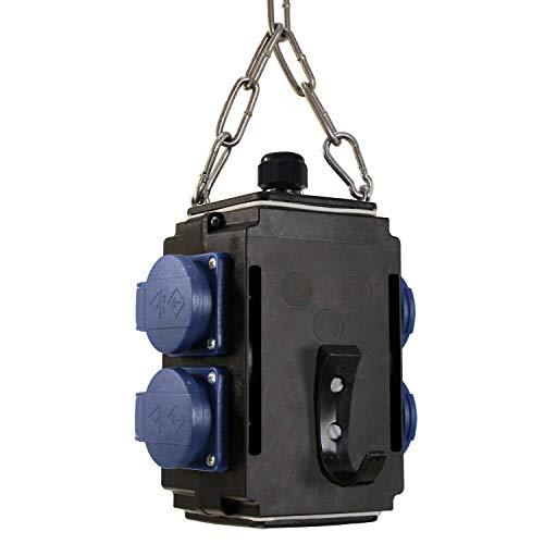 as - Schwabe MIXO Energiewürfel I – Hänge-Verteiler mit 4 Schuko-Steckdosen 230 V, 16 A – hängender MIXO-Verteiler für bessere Energieversorgung – IP44 – Made in Germany – Schwarz I 60731