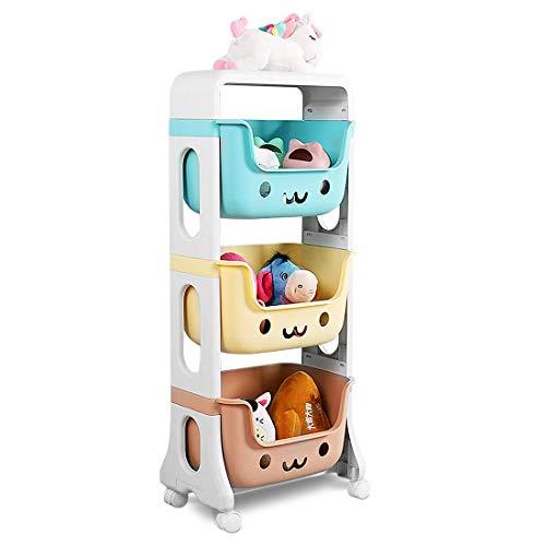 3 Etagen Kinderregal mit Aufbewahrungsboxen Johgee Aufbewahrungsregal Küchenwagen Rollwagen mit 360°drehbare Rollen für Schlafzimmer Küche Büro Kinderzimmer