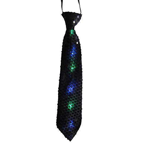 Dress Up America 691.0 stropdas met knipperende LED-lampen, uniseks volwassenen, zwart, eenheidsmaat